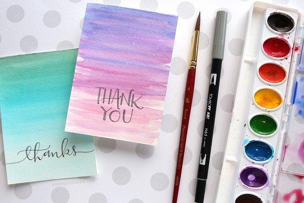 thank you card dengan watercolor atau cat air